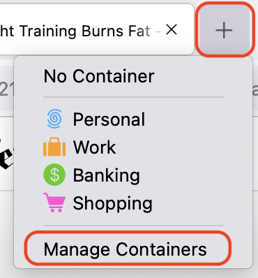 Open a new tab menu with Manage Containers option highlighted