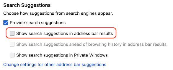 Show search suggestions in address bar results checkbox unchecked and highlighted