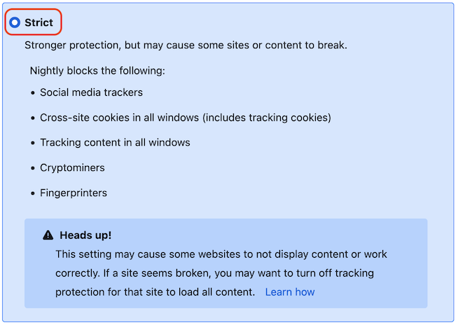 Firefox Enhanced Tracking Protection with Strict selected